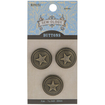 Star Round Shank Buttons - 20mm