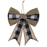 Black & White Buffalo Check & Burlap Bow