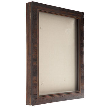 "Dark Walnut Slatted Wood Shadow Box - 16"" x 20"""