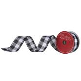 "Black & White Buffalo Check Wired Edge Ribbon - 1 1/2"""
