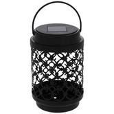 Light Up Black Ornate Metal Lantern