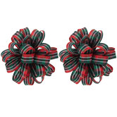 Red & Green Plaid Ribbon Bow