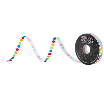 "Bright Polka Dot Grosgrain Ribbon - 3/8"""