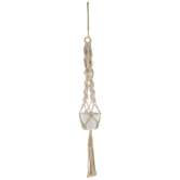 White Flower Pot In Macrame Plant Hanger
