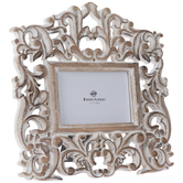 "Whitewash & Brown Rustic Scroll Wood Frame - 6"" x 4"""