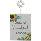 Grateful Thankful Blessed Wood Photo Clip