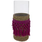 Magenta & Beige Woven Tassels Glass Vase