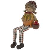 Scarecrow Shelf Sitter With Apple Basket