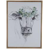 Cow & Eucalyptus Metal Wall Decor