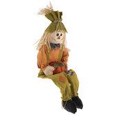 Boy Scarecrow With Pumpkin Shelf Sitter