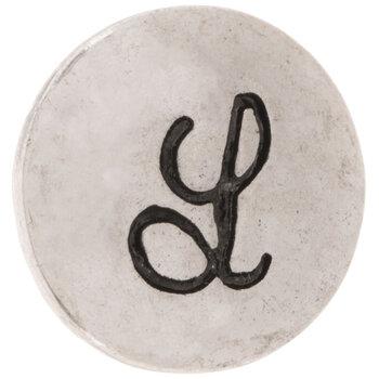 Hammered Alphabet Snap Charm - L