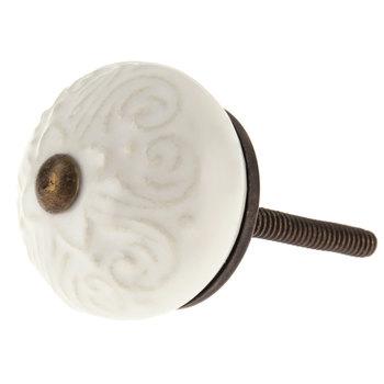 White Scroll Embossed Knob
