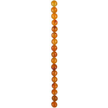 Orange Dyed Faceted Round Agate Bead Strand