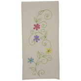 Embroidered Pastel Flowers Table Runner