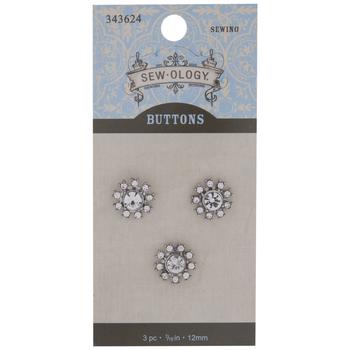 Rhinestone Flower Shank Buttons - 12mm