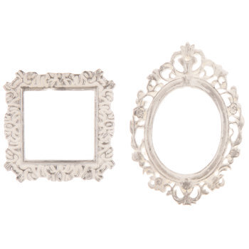 White Square & Oval Frame Embellishments