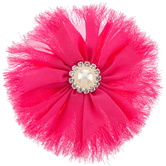 Round Hot Pink Tulle & Rhinestone Hair Clip