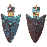 Antique Turquoise Wire-Wrapped Arrow Pendants