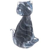 Blue Swirl Glass Cat