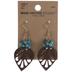 Beaded Leaf Leather Earrings