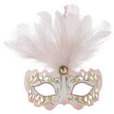 Pink Feathered Masquerade Mask Ornament