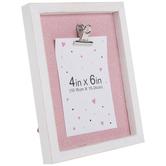 "White & Pink Glitter Wood Clip Photo Frame - 4"" x 6"""
