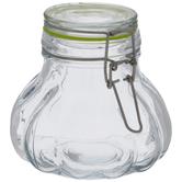 Green Seal Bubbled Glass Mason Jar