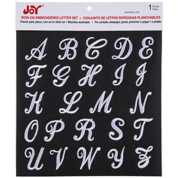 White Embroidered Letter Iron-On Applique Alphabet - Large