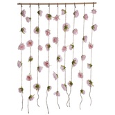 Pink Flowers On Rope Wood Wall Decor