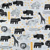 Yellow & Black Tribal Nursery Cotton Calico Fabric