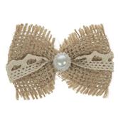 Burlap & Lace Pearl Bows