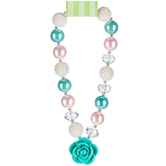 Teal & Pink Chunky Bead Necklace With Rose