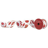 """Red & Gold Glitter Ornaments Wired Edge Ribbon - 2 1/2"""""""
