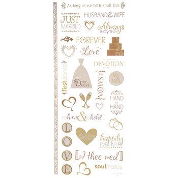 Gold Wedding Glitter Stickers