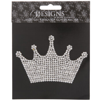 Silver Crown Rhinestone Iron-On Applique