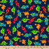 Dinosaurs On Blue Cotton Calico Fabric