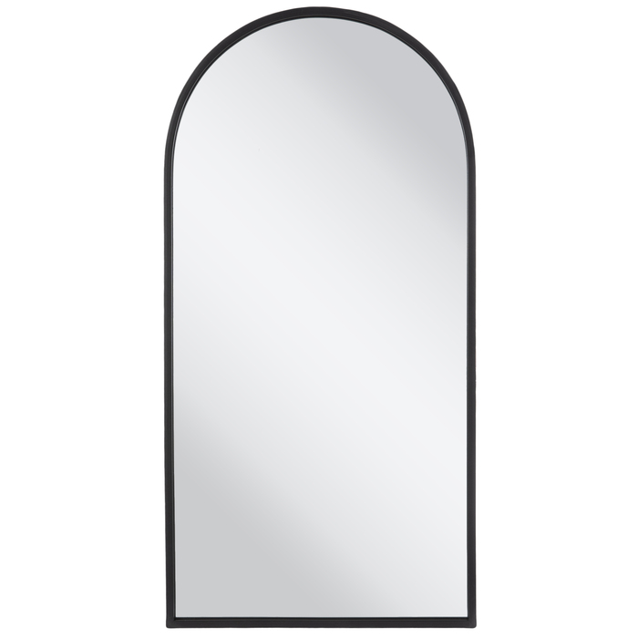 Matte Black Arched Metal Wall Mirror, Full Length Mirror Black Trim