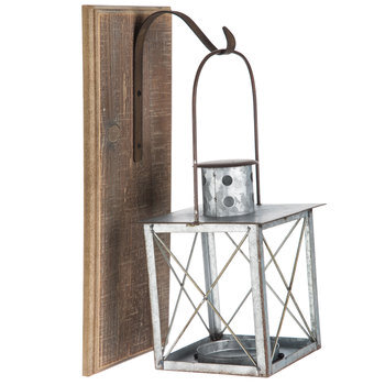 Galvanized Metal Lantern Wall Sconce