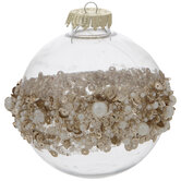 Gold Sequin, Bead & Pearl Striped Ball Ornaments