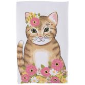 Floral Cat Kitchen Towel