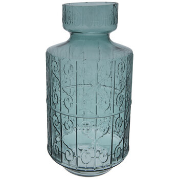 Teal Ornate Glass Vase