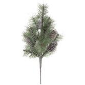 Flocked Glitter Pine & Pinecone Bush