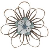 White & Turquoise Flower Metal Wall Decor