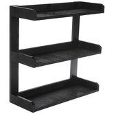 Black Three-Tiered Wood Wall Shelf