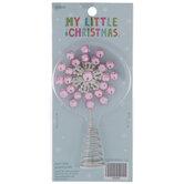 Pink Rhinestone Flower Mini Tree Topper