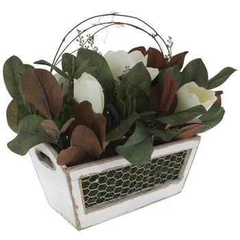 Magnolia Arrangement In Distressed Wood Planter