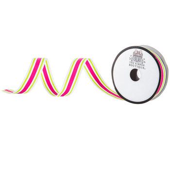 "Pink & Lime Striped Grosgrain Ribbon - 7/8"""