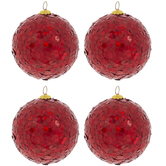 Red Glitter Round Ball Ornaments