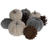 Gray & White Velvet Pumpkins & Pinecones