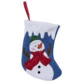 Mini Blue Snowman Stocking
